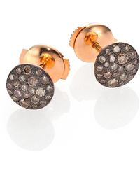 Pomellato - Sabbia Brown Diamond & 18k Rose Gold Stud Earrings - Lyst