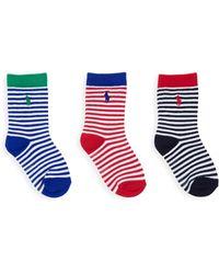 Ralph Lauren - Little Boy's 3-pack Striped Crew Socks - Navy Red - Lyst