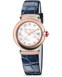 BVLGARI | Lvcea Diamond, Mother-of-pearl & Alligator Strap Watch/blue | Lyst