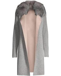 Sofia Cashmere Fox Fur-collar Cashmere Cardigan - Gray