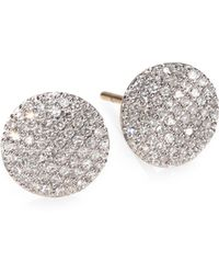 Phillips House | Pavé Diamond & 14k Yellow Gold Infinity Stud Earrings | Lyst