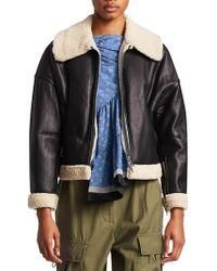 3.1 Phillip Lim - Dolman Aviator Style Shearling-trim Leather Jacket - Lyst