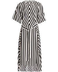 Stella McCartney Penelope Stripe Belted Silk Midi Dress - Black