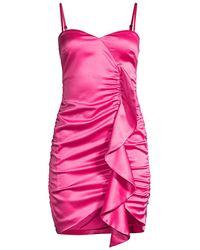 Likely Monaco Draped Ruffle Cocktail Dress - Pink