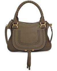 Chloé Medium Marcie Leather Satchel - Green