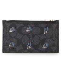 COACH - Signature Dot Diamond Zip Leather Card Case - Lyst