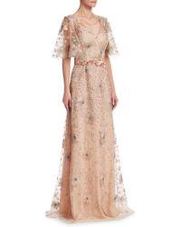 David Meister - Short Sleeve Floral Embellished Gown - Lyst
