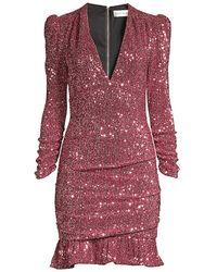 Rebecca Vallance Mona Ruched Sequin Sheath Dress - Pink