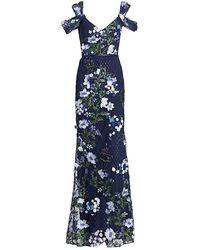 Marchesa notte Floral Cold-shoulder Gown - Blue