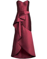 Parker Black Lulu Cascading Ruffle Strapless Satin Gown - Red