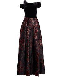 THEIA Velvet & Brocade Ball Gown - Multicolor