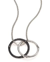 John Hardy | Bamboo Black Sapphire & Sterling Silver Medium Round Pendant Necklace | Lyst