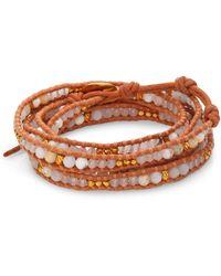 Chan Luu - White Opal, White Jade & Leather Beaded Wrap Bracelet - Lyst