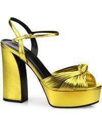 Gucci - Allie Knotted Metallic Leather Platform Sandals - Lyst