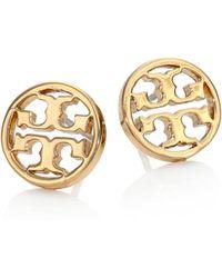 Tory Burch - Logo Circle Stud Earrings/goldtone - Lyst