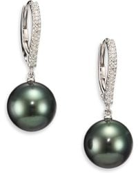 Mikimoto - 10mm Black Round Cultured South Sea Pearl, Diamond & 18k White Gold Drop Earrings - Lyst