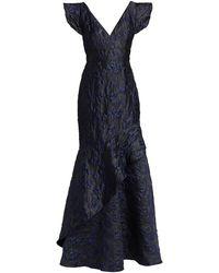 ML Monique Lhuillier Ruffled Floral Jacquard Gown - Blue