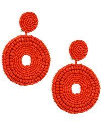 Kenneth Jay Lane - Seed Bead Circle Clip-on Earrings - Lyst
