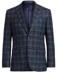 Saks Fifth Avenue Collection Bamboo Plaid Sportcoat - Blue