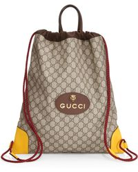 5aabfa2e1705 Gucci - Men's GG Drawstring Backpack - Beige - Lyst