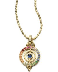 Temple St. Clair - Mixed Sapphire & 18k Yellow Gold Dual Ring Pendant - Lyst