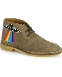 Gucci New Moreau Embroidered Suede Chukka Boots - Green