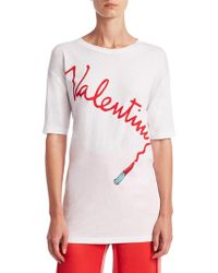 Valentino - Logo Lipstick T-shirt - Lyst