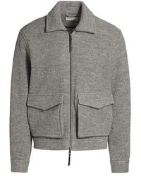 7 For All Mankind Boiled Wool Flight Jacket - Gray