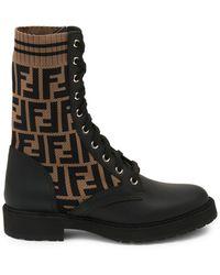 Fendi Boots 8t6780 Polyester Logo Black Brown