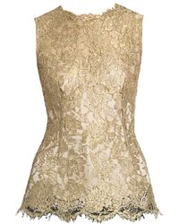 Dolce & Gabbana Sleeveless Lace Top - Metallic