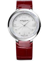 Baume & Mercier - Promesse 10262 Stainless Steel & Alligator Strap Watch - Lyst