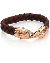 John Hardy - Classic Chain Woven Leather & Bronze Eagle Bracelet - Lyst