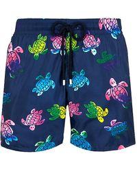 Vilebrequin Ronde Des Tortues Aquarelle Turtle Print Swim Trunks - Blue