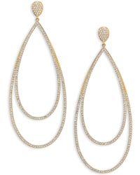 Adriana Orsini Rhodium Plated Pavé Crystal Teardrop Earrings - Metallic