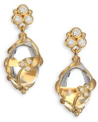 Temple St. Clair - Tree Of Life Rock Crystal, Diamond & 18k Yellow Gold Vine Amulet Drop Earrings - Lyst