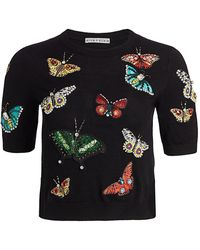 Alice + Olivia Ciara Butterfly Embroidered Sweater - Black