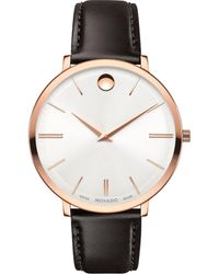 Movado | Ultra Slim Rose Goldtone Stainless Steel & Leather Strap Watch | Lyst