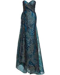 Rubin Singer Strapless Hand Draped Sweetheart Gown - Blue