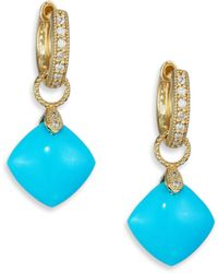 Jude Frances - Classic Turquoise, Diamond & 18k Yellow Gold Cushion Earring Charms - Lyst