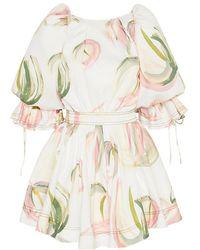 Aje. Imprint Puff-sleeve Mini Dress - Multicolor