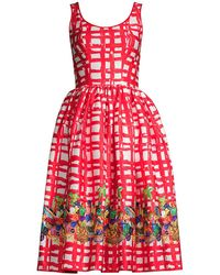 Stella Jean Gingham Fit & Flare Dress - Red