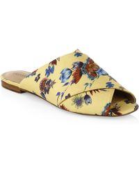 Rebecca Minkoff Anden Wrapped Silk Floral Slides - Multicolor