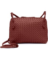 c98e223ff468 Bottega Veneta - Women s Pillow Intrecciato Leather Crossbody Bag - Baccara  Red - Lyst