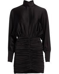 retroféte Barbara Dolman-sleeve Ruched Mini Dress - Black
