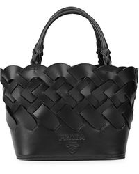 Prada Woven Leather Tote - Black
