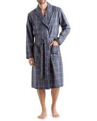 Hanro Yanis Long-sleeve Check Robe - Blue