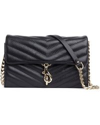 Rebecca Minkoff Edie Quilted Leather Wallet-on-chain - Black