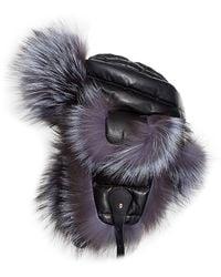 Saks Fifth Avenue Fox Fur & Leather Trapper Hat - Black