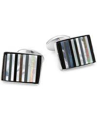 David Donahue Striped Sterling Silver Cuff Links - Metallic