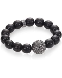 Nest - Black Line Agate Beaded Bracelet With Pave Bead - Lyst